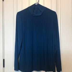 Teal blue mock neck shirt
